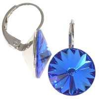 12mm Ohrringe mit Swarovski Kristall in der Farbe Saphir Blau