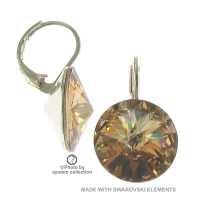 12mm Ohrringe mit Swarovski Kristall Colorado Topas Hell