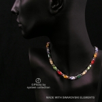 Navette Kette mit Swarovski Kristall: Vielfarben