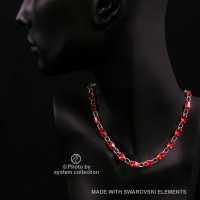 Navette Kette mit Swarovski Kristall: Siam Hell Rot