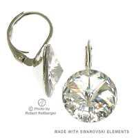 12mm Ohrringe mit Swarovski Kristall Farbe Transparent Klar