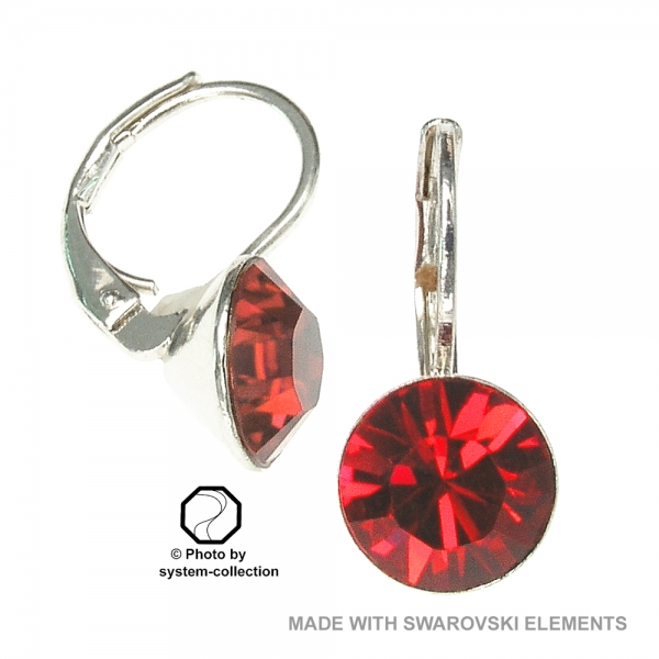 8mm Ohrringe mit Swarovski Elements in der Farbe Siam Hell Rot